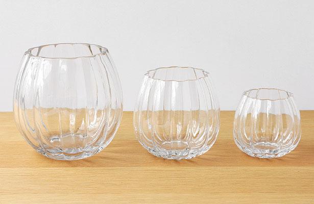 ガラスのフラワーベース パンプキン